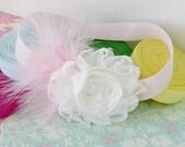 Soft Pink Feather Shabby Chic White Rose Headband