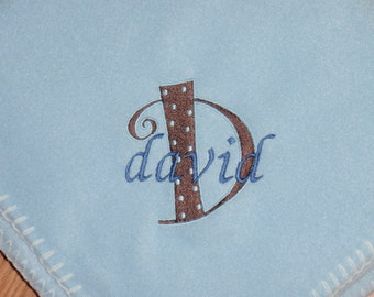 Personalized Dotted Letter Embroidered Baby Blanket