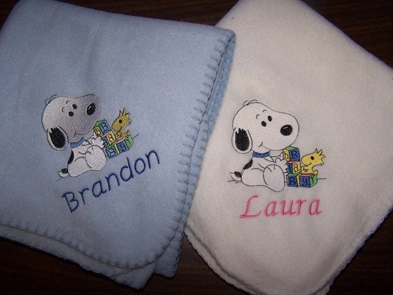 Personalized Snoopy Baby Blanket