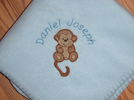 Monogrammed Monkey Baby Blanket Personalized Free