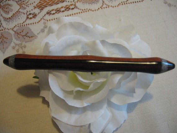 Hair stick quarter Laminated Purple heart, Gaboon Ebony and  Jatoba inlayed with Faux Silver  in a double point Style hairstick