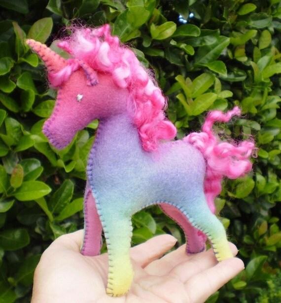 Handdyed Waldorf Steiner Felt Unicorn Toy CUSTOM ORDER for YOU