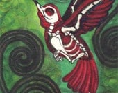 "Humming Bird Day of the Dead archival print  ""Last Flights"""