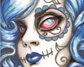 """Zombie Sugar Skull Girl """"Spooky Lil' Girl"""" 5x7 archival print"""