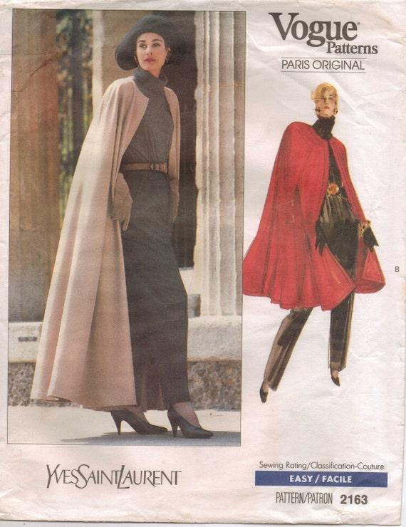 80s Vogue Paris Original Pattern 2163 Yves Saint Laurent