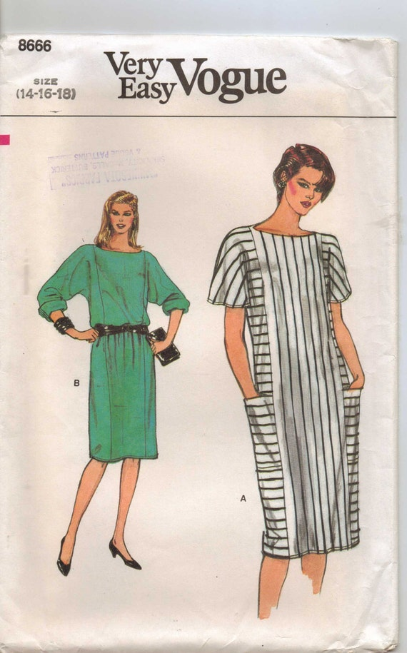 80s Very Easy Vogue Pattern 8666 Womens Pullover Dress Size 14 16 18 Bust 36 38 40 UnCut