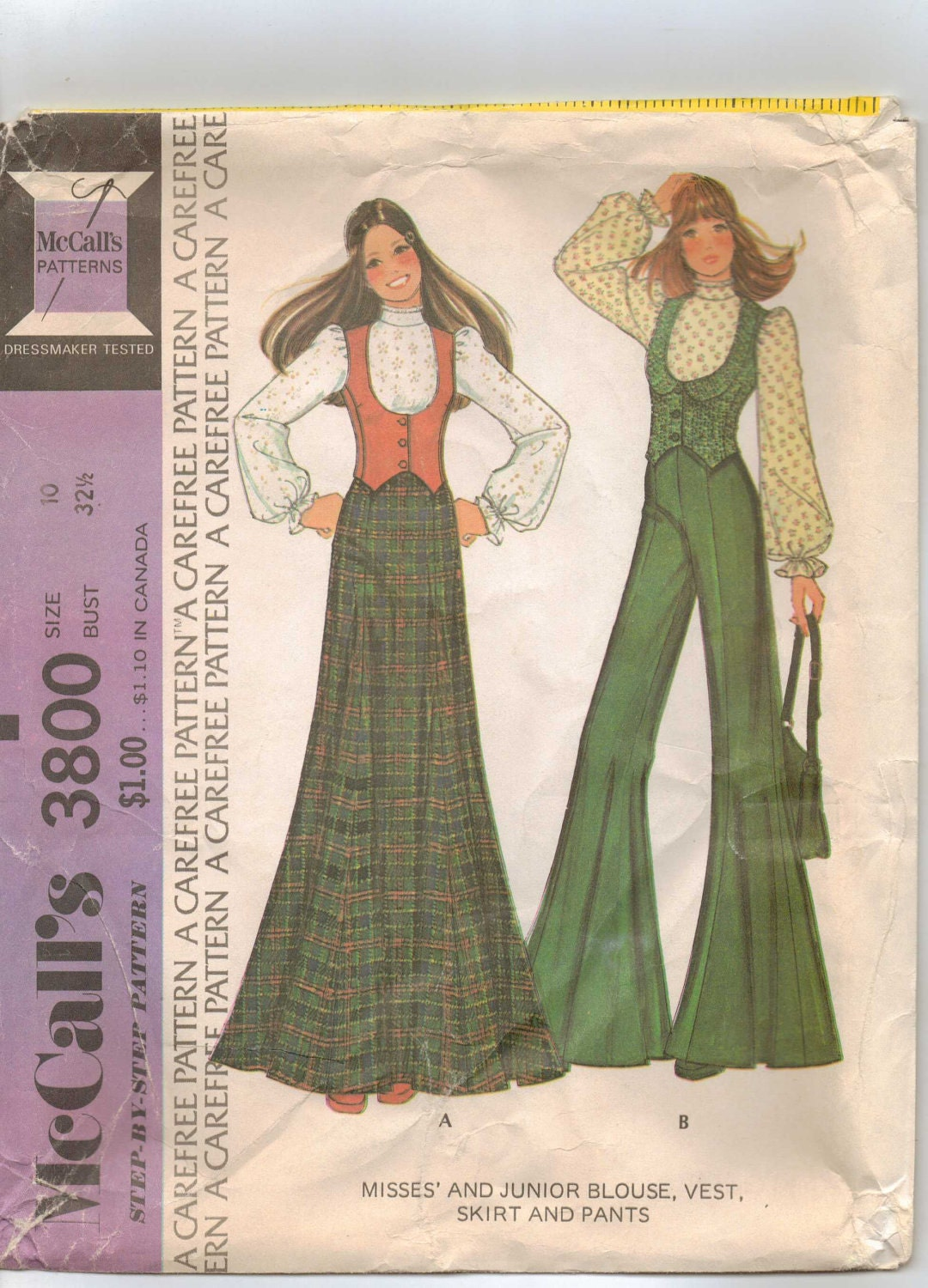 70s Mccalls Pattern 3800 Womens Mod Blouse Vest And Bell