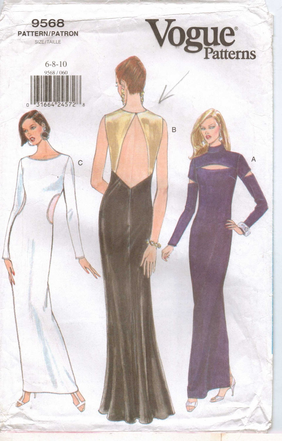 90s Vogue Pattern 9568 Womens Cut Out Evening Dress Size 6 8