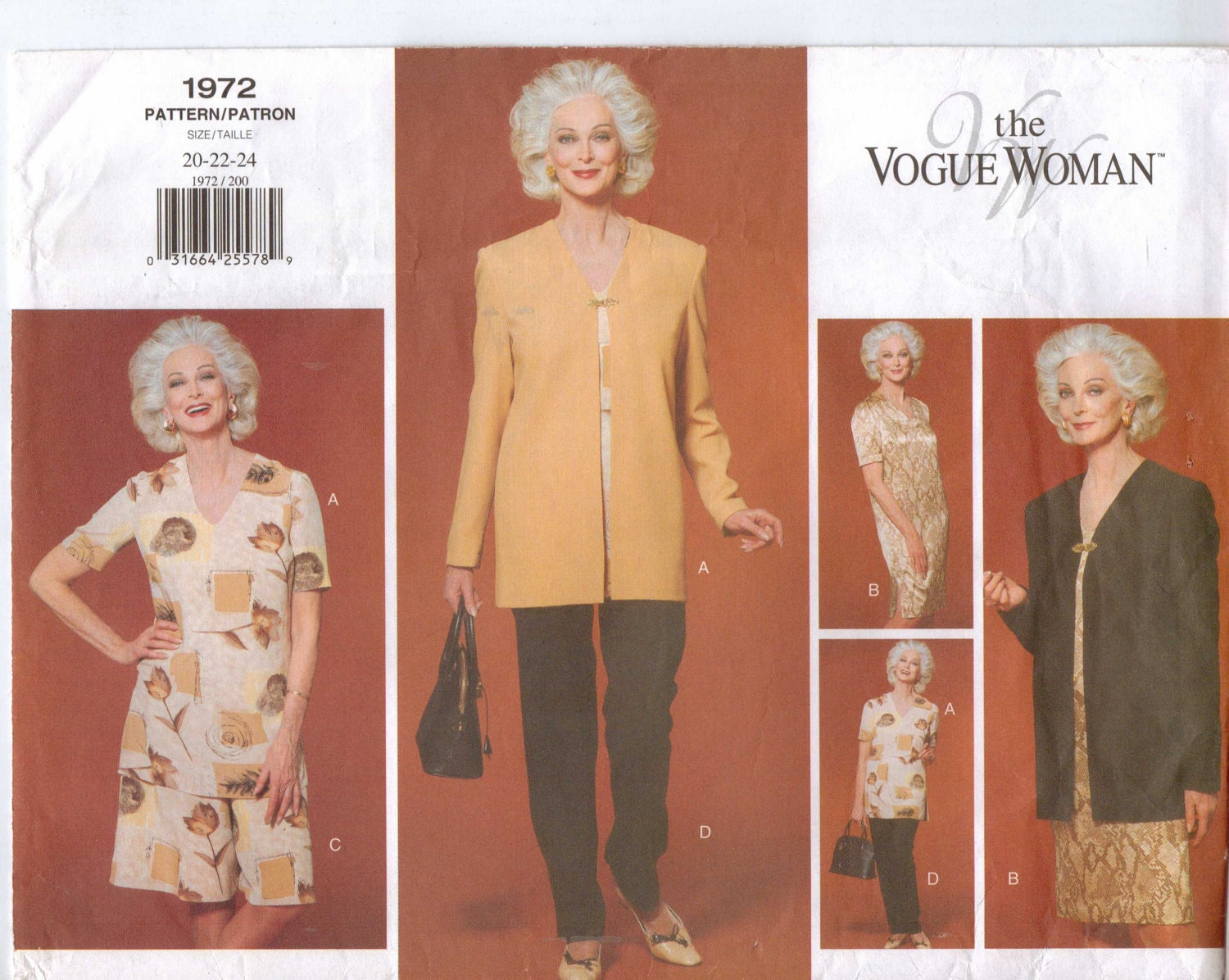 Carmen Dell'Orefice models 1990s The Vogue Woman pattern Vogue 1972