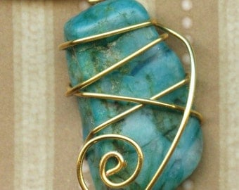 Wire-Wrapped Chrysocolla