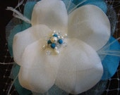 The McKenzie - White  and Blue Silk Flower with Pearls, Swarovski Crystals, and French Netting