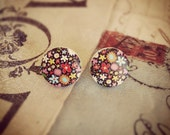 Ditzy Floral Painted Wood Button Earrings