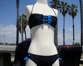 On Reserve For Stephanie - Black / Blue : Large - Lolita Button Frill Bikini