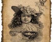 Vintage Girl, Ephemera, Altered, Digital Image Transfer No.177