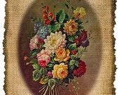 Vintage, Flowers, Altered, Printable, Iron On, Ephemera,  Digital Image No. 366