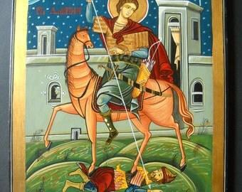 Saint Demeter, St. Demetrius of Thessaloniki, patron of soldiers,  Romanian Byzantine Icon, St. Dimitrios- eastern orthodox iconography,