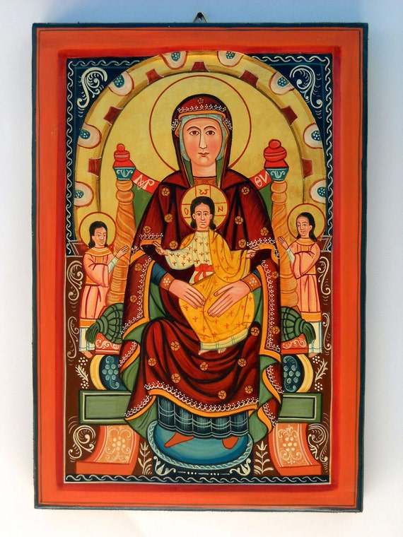 Madonna Platitera with Child Jesus,Romanian Folk Byzantine Icon