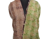 Vintage Kantha Style Scarf Women Wrap Indian Reversible Pure Silk Dupatta Used Craft Dress Recycled Fabric -IDP182