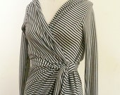 MARIA SEVERYNA Black and Cream Striped Hooded Wrap dress