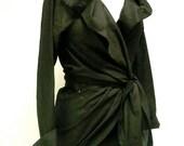 Custom Made Maria Severyna Pima Cotton Black  Shirt Wrap Top