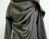 MARIA SEVERYNA Light Grey Wool Italian Wool Fabric  Asymmetric Wrap Duster Jacket Coat Handmade