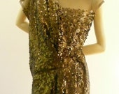 Brilliant Bronze Sequin Maria Severyna Cinched Party Dress