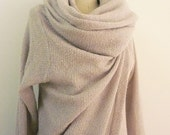 Special Order for Mollie - MARIA SEVERYNA Soft Wool Knit Asymmetric Sweater Wrap Duster in Light Sand Grey Color- Available in many colors