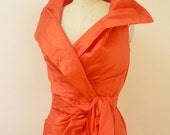 Special Order for Hannah -- Custom Made Maria Severyna Tangerine Orange Dupioni Wrap Dress