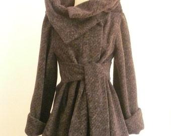 Maria Severyna Gray Knitted Wool Lined Coat - Medium - READY TO SHIP