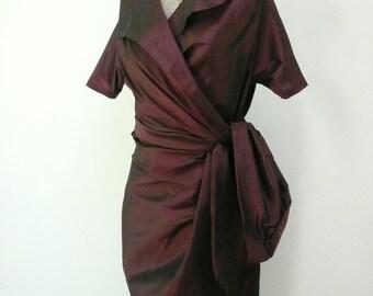 Special Order for Cara -Maria Severyna Eggplant Silk Dupioni Wrap Dress