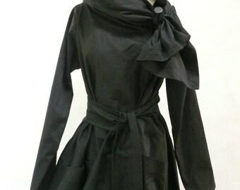 Maria Severyna Black Italian Wool thread  Jacket Coat Steampunk
