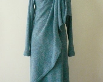 MARIA SEVERYNA Blue Soft Wool Knit Asymmetric Sweater Wrap Duster - Available in many colors