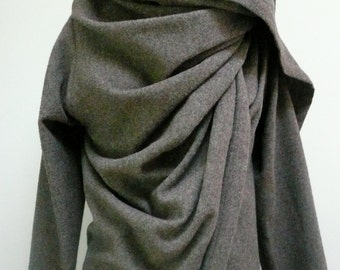 MARIA SEVERYNA Light Grey Wool Italian Wool Fabric  Asymmetric Wrap Duster Jacket Coat Handmade