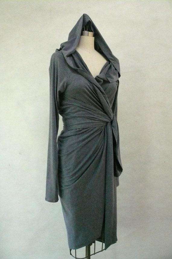 Slate Blue Gray Maria Severyna Jersey hooded long sleeve Wrap dress