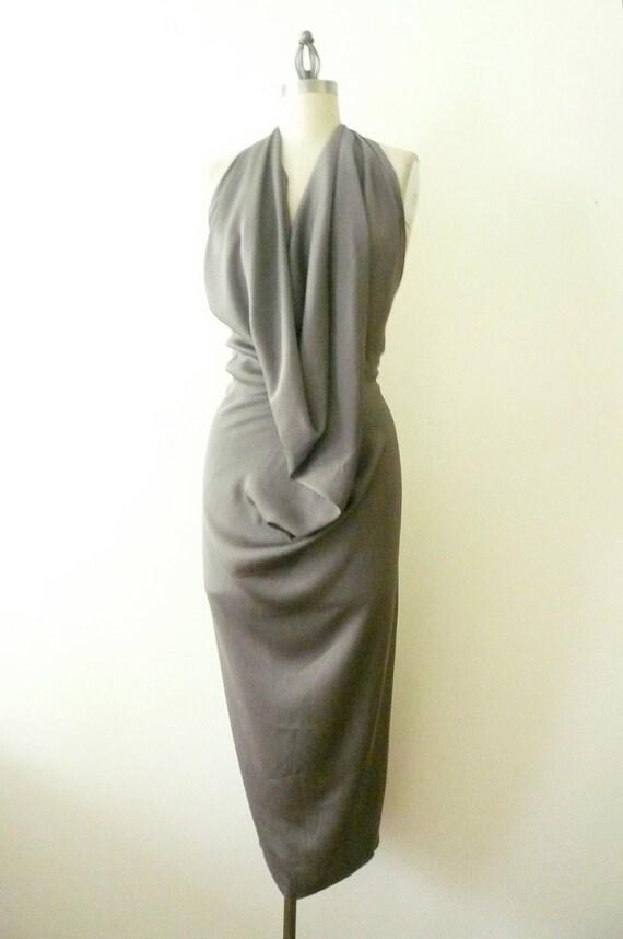 Special Order for Sabrina - MARIA SEVERYNA Sand Silk Halter Abito Dress Grey Silk