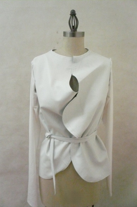 Custom Made Maria Severyna White Leather Jacket with Cotton Jersey Sleeves Available in Many Colors