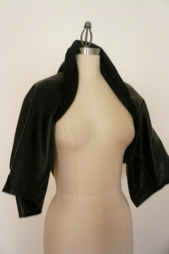 Special order for Susan - MARIA SEVERYNA Draped Black Leather Jacket Shrug - Available in many colors