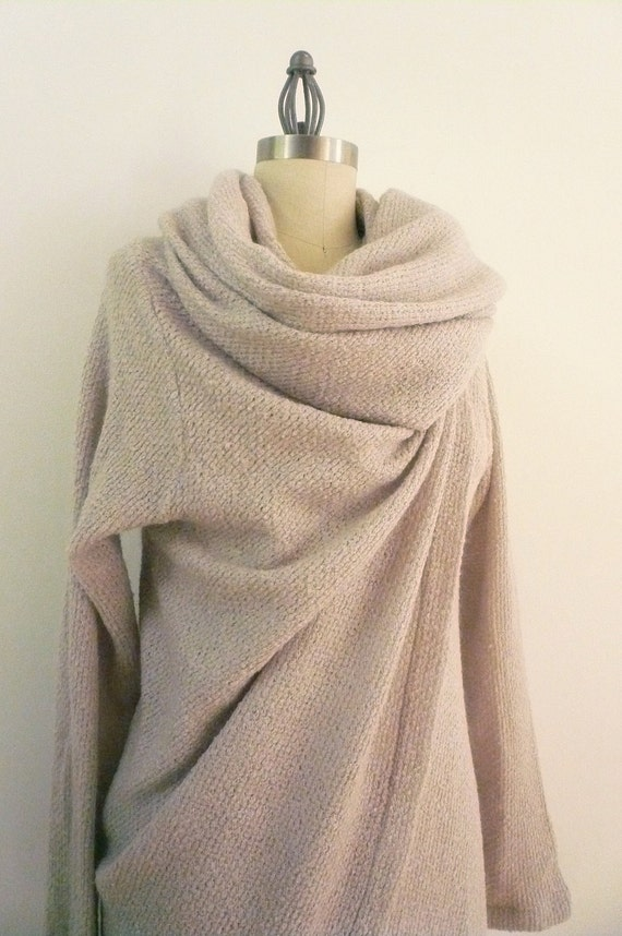 MARIA SEVERYNA Pear Shade Soft Wool Knit Asymmetric Sweater Wrap Duster - Available in many colors