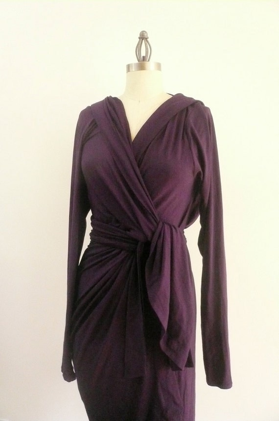 Purple Maria Severyna Cotton Jersey hooded long sleeve Wrap dress - Available in many colors