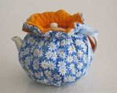 Spring Daisies on Blue, Reversible to Burnt Orange Batik Fits 4 to 6 Cup Teapots