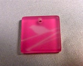 20mm Frosted Square Plastic Pendant with Bird - Destash