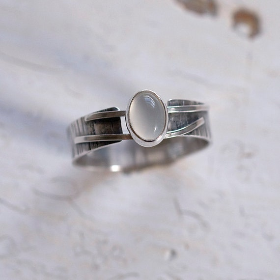 Sterling Silver & Moonstone Battle-Scarred Band Ring