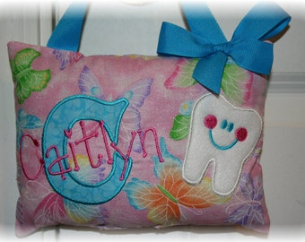 Tooth Fairy Pillow for Girls- Personalized- Butterflies- Boutique Custom Made
