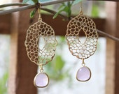 The Nature collection. Rose Quartz glass dangle chandelier earrings