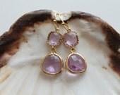 Light Amethyst. Beautiful delicate lilac 16k gold framed glass stone earrings