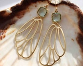 Prasiolite. Delicate wing prasiolite chandelier dangle earrings
