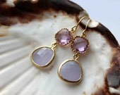 The Candy collection. Beautiful two tone lilac 16k gold framed glass stone dangle drop earrings
