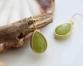 The Everyday collection. Stunning large 16k gold plated peridot jade stone dangle earrings
