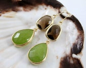 Smoky quartz and jade. Stunning large 16k gold plated peridot jade stone dangle earrings
