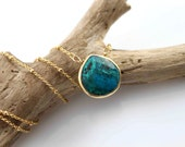 The Nature collection. Genuine Large 22k bezeled Chrysocolla necklace